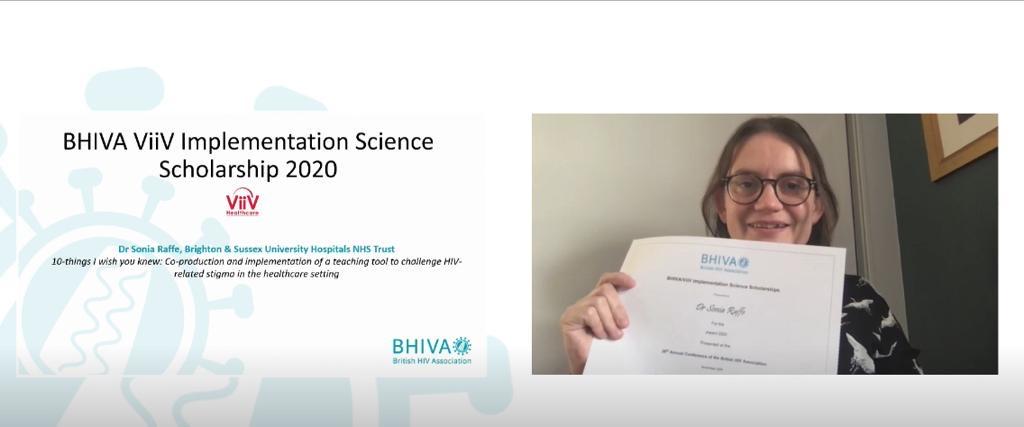 BHIVA award Dr Sonia Raffe